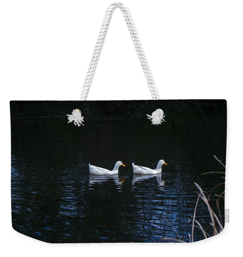 White Ducks Weekender Tote Bag featuring the photograph Two Of A Kind by Mechala Matthews
