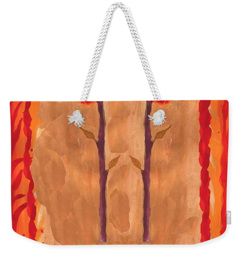 Tarot Weekender Tote Bag featuring the painting Two Of Wands by Sushila Burgess