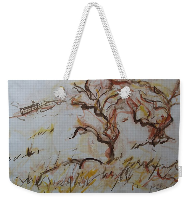 Two Olive Trees Weekender Tote Bag featuring the mixed media Two Olive Trees by Esther Newman-Cohen