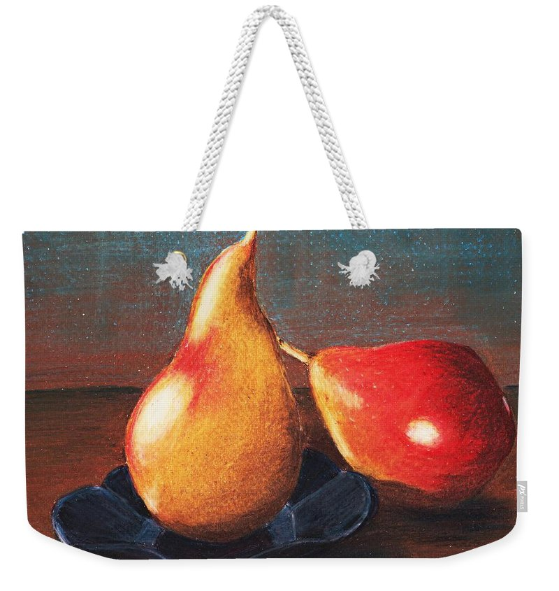 Interior Weekender Tote Bag featuring the painting Two Pears by Anastasiya Malakhova