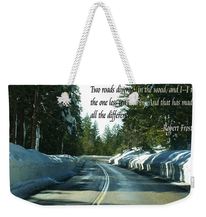 Weekender Tote Bag featuring the photograph Two Roads by Anthony Walker Sr