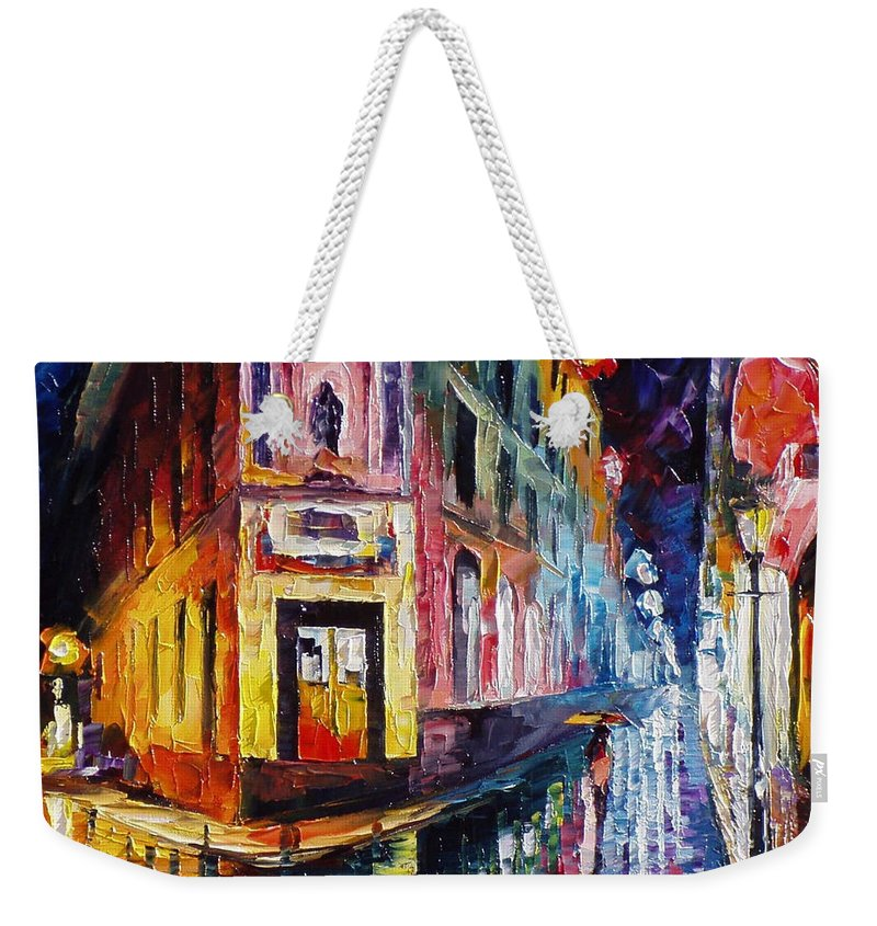 Oil Paintings Weekender Tote Bag featuring the painting Two Streets - Palette Knife Oil Painting On Canvas By Leonid Afremov by Leonid Afremov