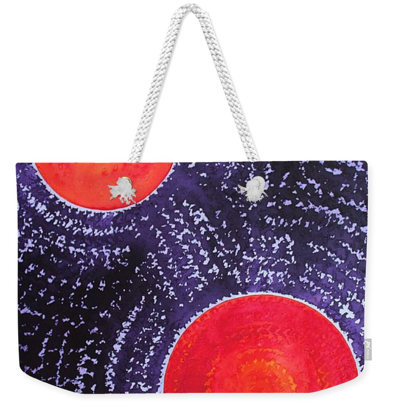 Sun Weekender Tote Bag featuring the painting Two Suns Original Painting by Sol Luckman