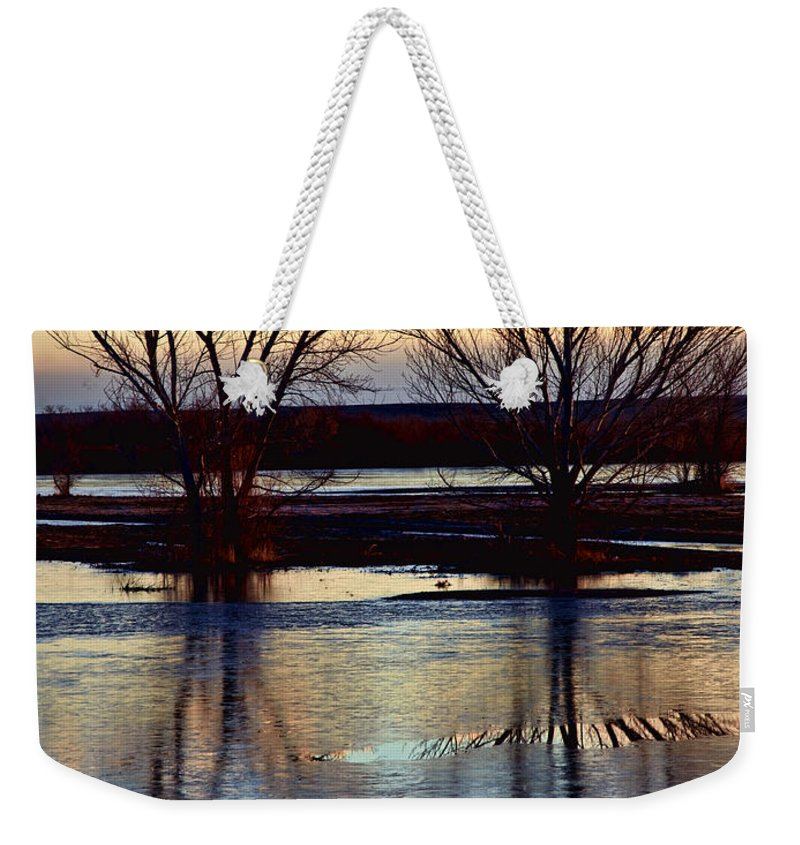 Bosque Del Apache Weekender Tote Bag featuring the photograph Two Trees In The Bosque by Diana Powell