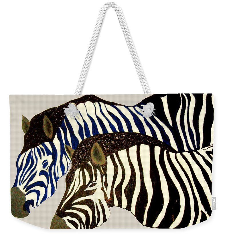 Zebras Weekender Tote Bag featuring the painting Two Zebras by Andrew Petras