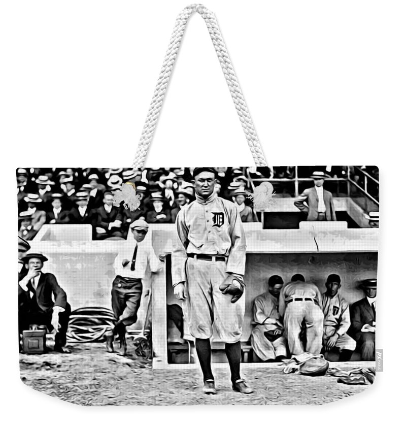 Mlb Weekender Tote Bag featuring the painting Ty Cobb by Florian Rodarte