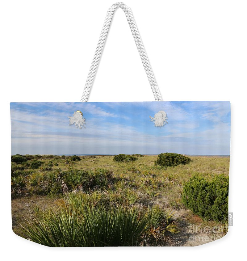 Tybee Island Weekender Tote Bag featuring the photograph Tybee Island Dunes And Path by Carol Groenen