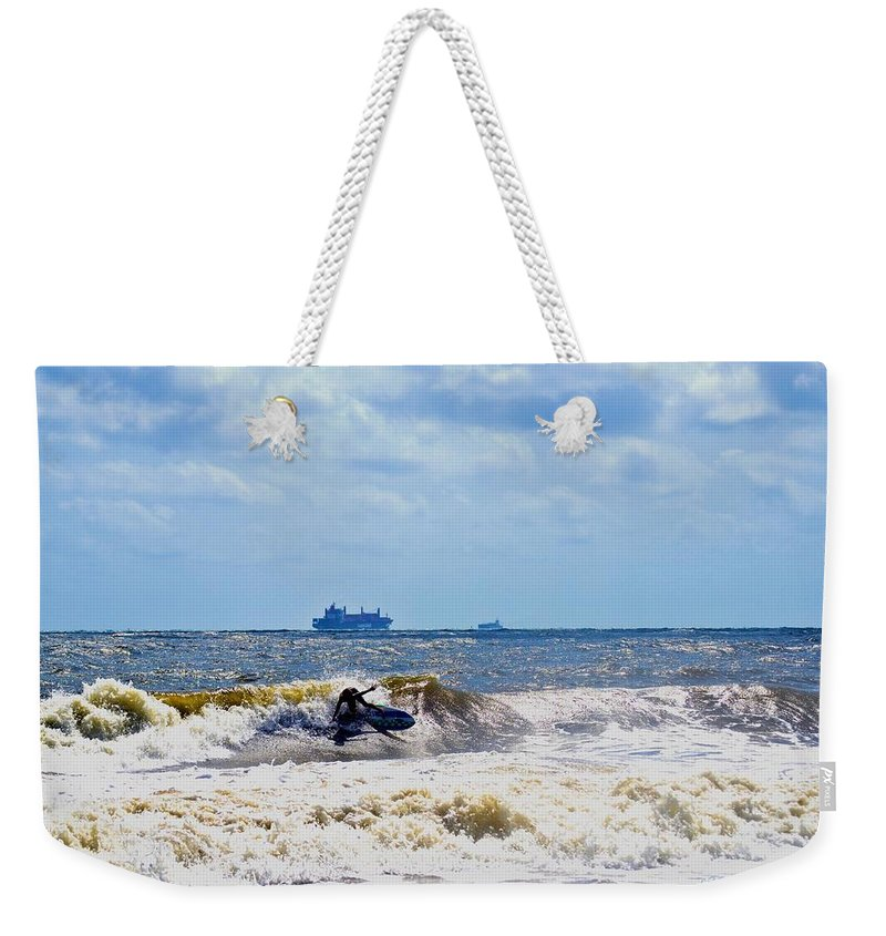 Kite Surfing Weekender Tote Bag featuring the photograph Tybee Island Kite Surfing by Tara Potts