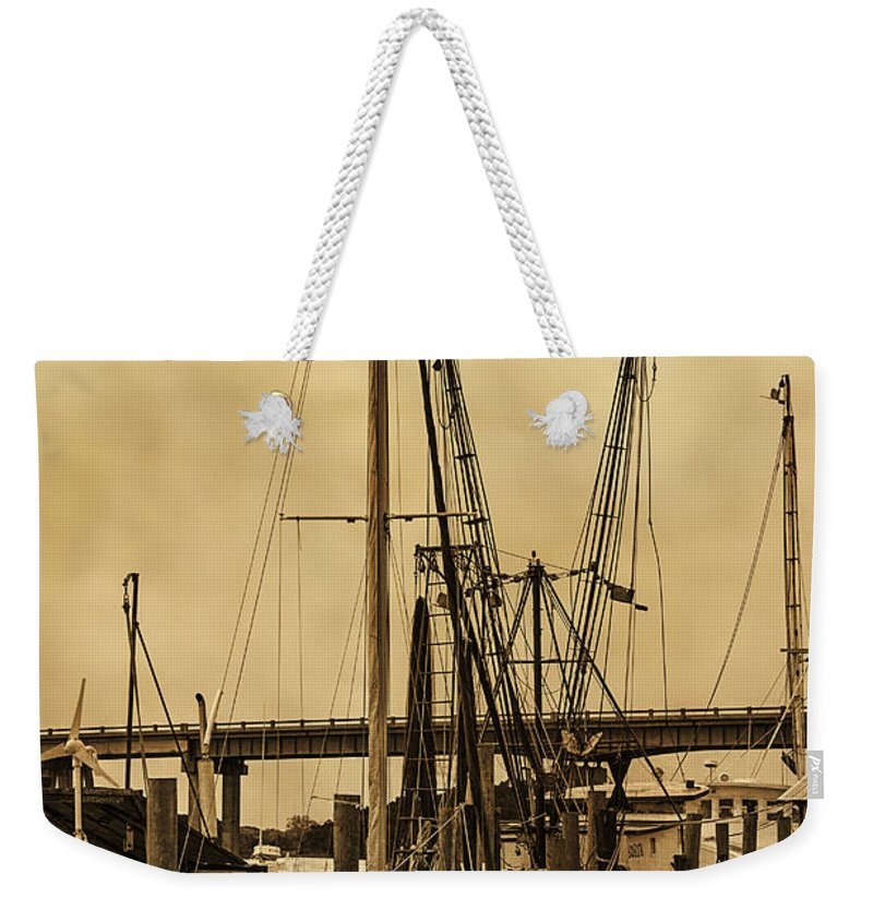 Shrimp Boats Weekender Tote Bag featuring the photograph Tybee Island Shrimp Boats by Priscilla Burgers