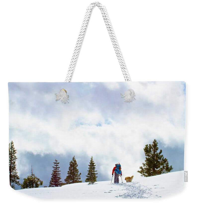 Day Weekender Tote Bag featuring the photograph Tyle Brown Kite Skiing In The Tahoe by Sean Naugle