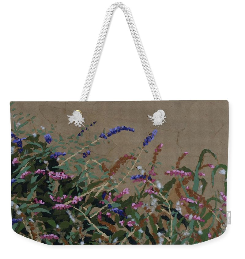 Flowering Butterfly Bush Weekender Tote Bag featuring the painting Tyler by Leah Tomaino