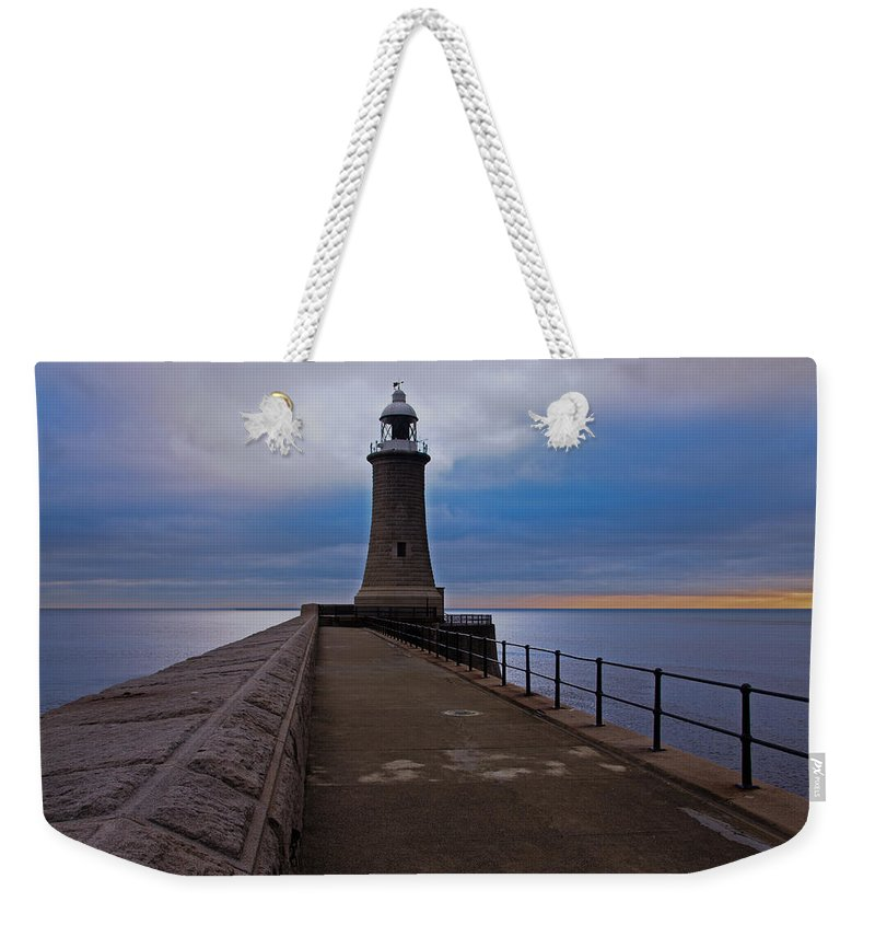 Tynemouth Weekender Tote Bag featuring the photograph Tynemouth Pier Lighthouse by David Pringle