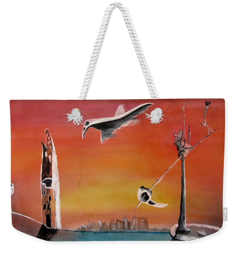 Uglydream Weekender Tote Bag featuring the painting Uglydream911 by Helmut Rottler