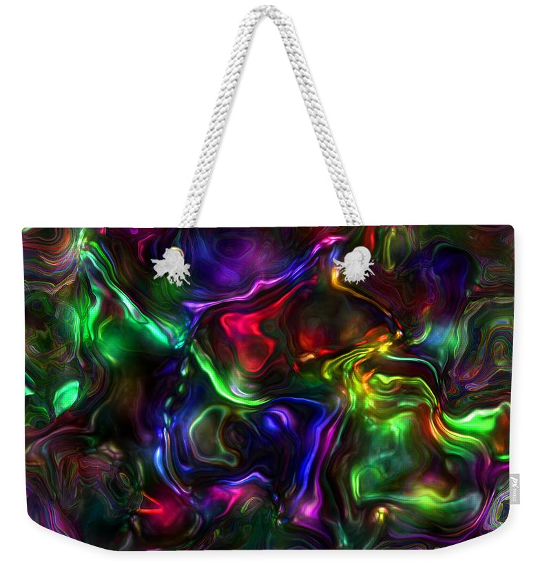 Abstract Weekender Tote Bag featuring the painting Umbilical Souls by RC DeWinter