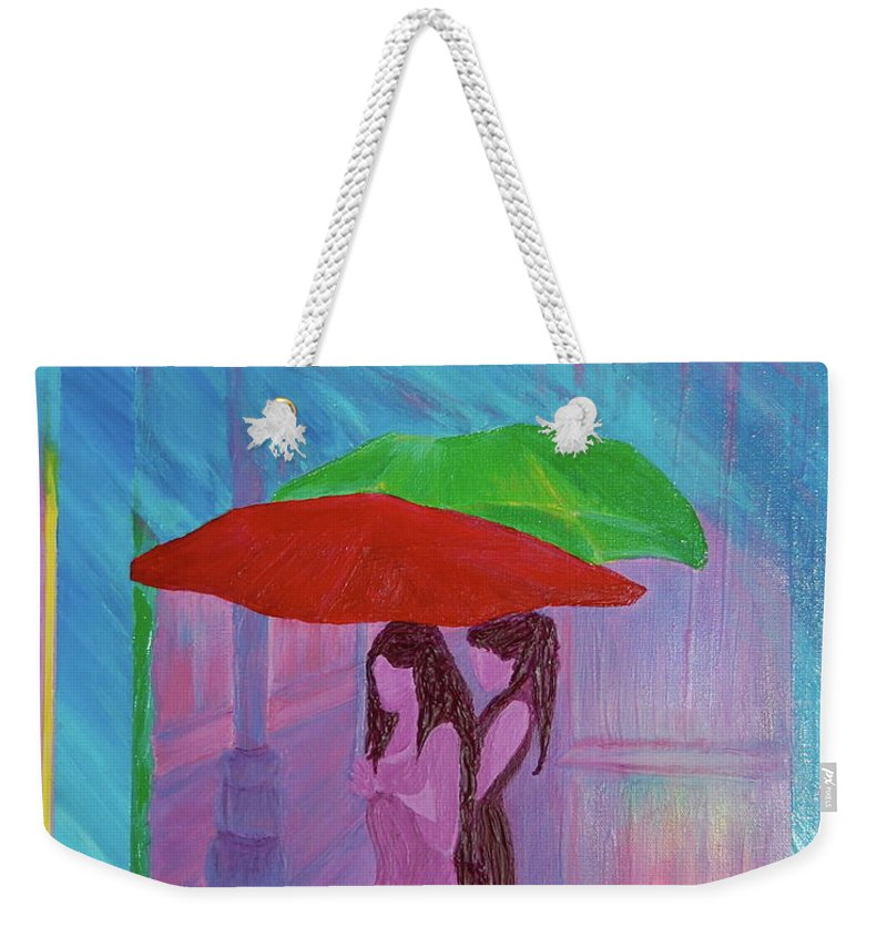 Umbrellas Weekender Tote Bag featuring the painting Umbrella Girls by First Star Art