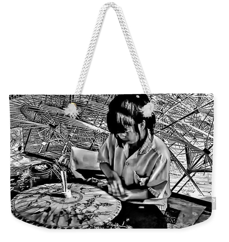 Thailand Weekender Tote Bag featuring the photograph Umbrella Maker Bw by Steve Harrington