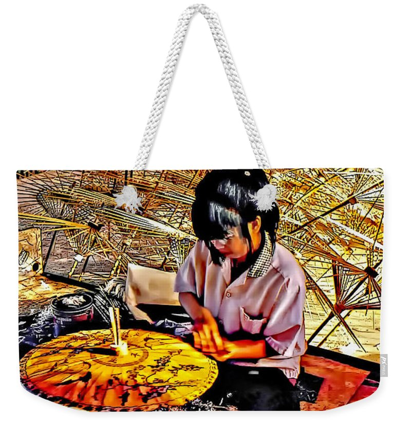 Thailand Weekender Tote Bag featuring the photograph Umbrella Maker by Steve Harrington