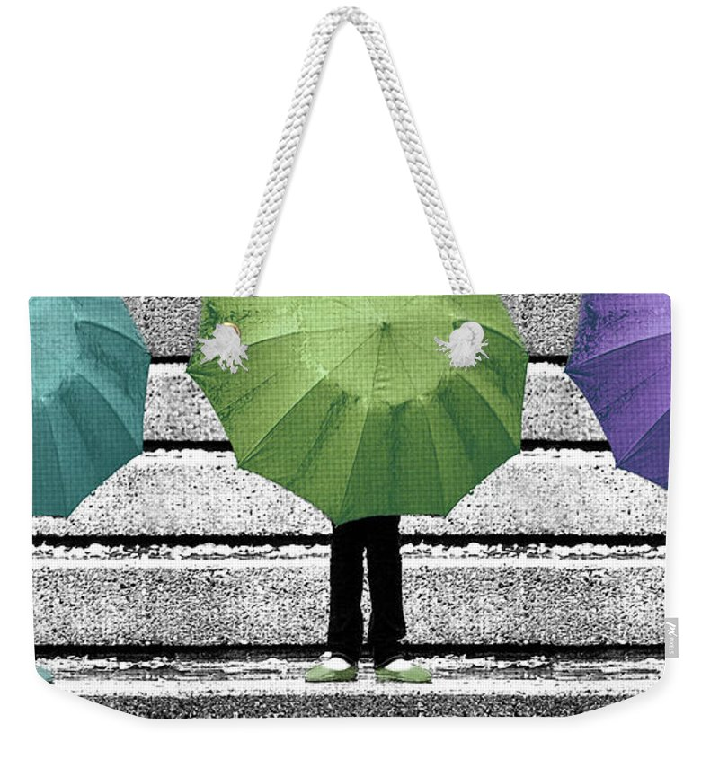 Umbrella Weekender Tote Bag featuring the photograph Umbrella Trio by Lisa Knechtel
