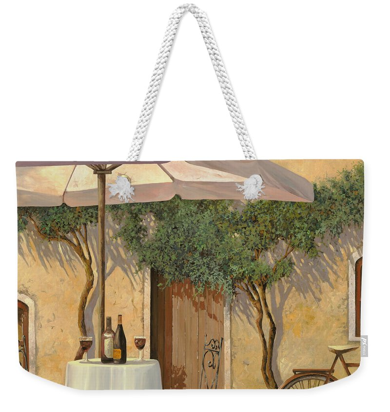 Courtyard Weekender Tote Bag featuring the painting Un Ombra In Cortile by Guido Borelli