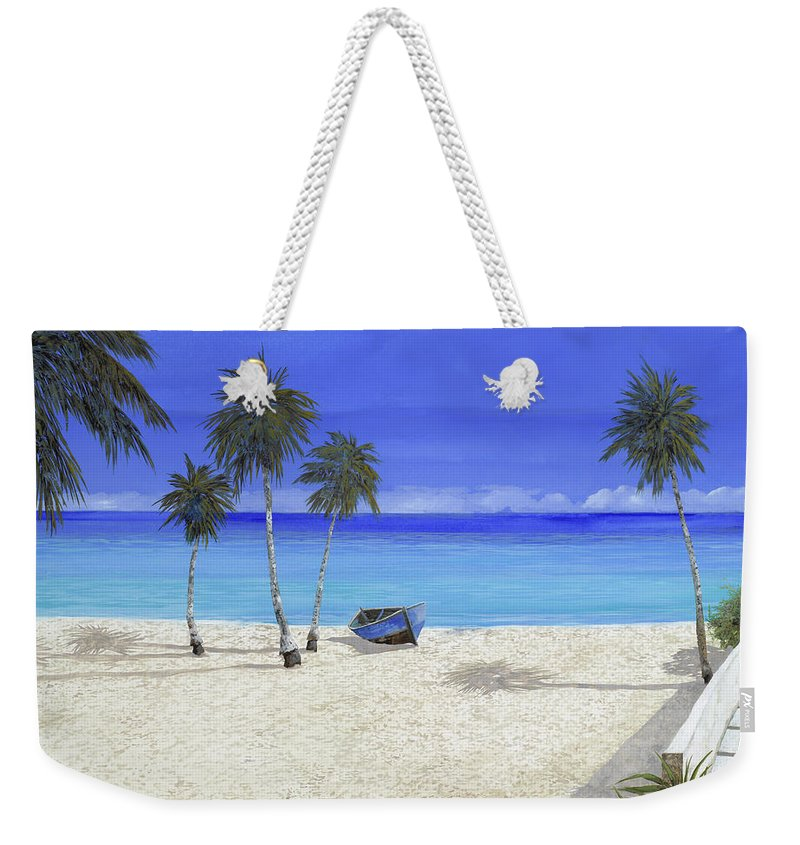 Seascape Weekender Tote Bag featuring the painting Una Barca Blu by Guido Borelli