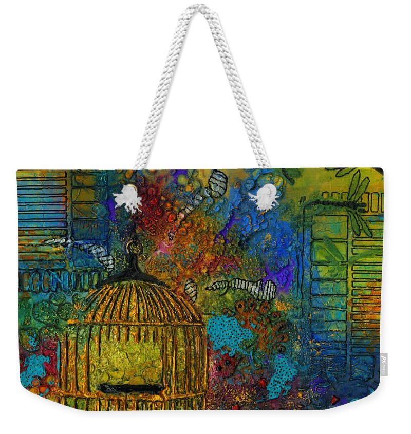 Mixed Media Weekender Tote Bag featuring the mixed media Uncaged by Angela L Walker