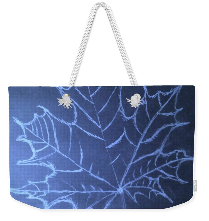 Jason Weekender Tote Bag featuring the drawing Uncertaintys Leaf by Jason Padgett