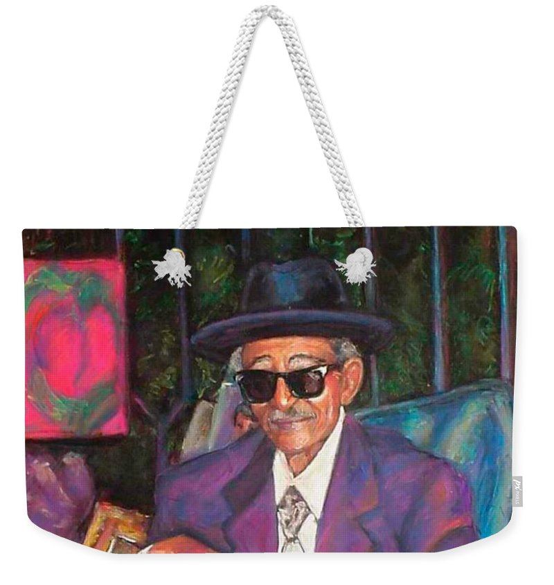 New Orleans Musician Weekender Tote Bag featuring the painting Uncle With Time On His Hands by Beverly Boulet