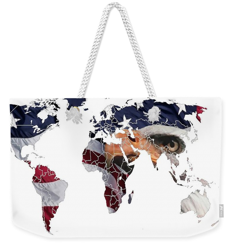 Map World Digital Art Atlas Country America Africa Asia Europe Australia Color Colorful Expressionism Impressionism Save American Usa Stars Stripes Flag Weekender Tote Bag featuring the digital art Under The Eagles Eyes by Steve K