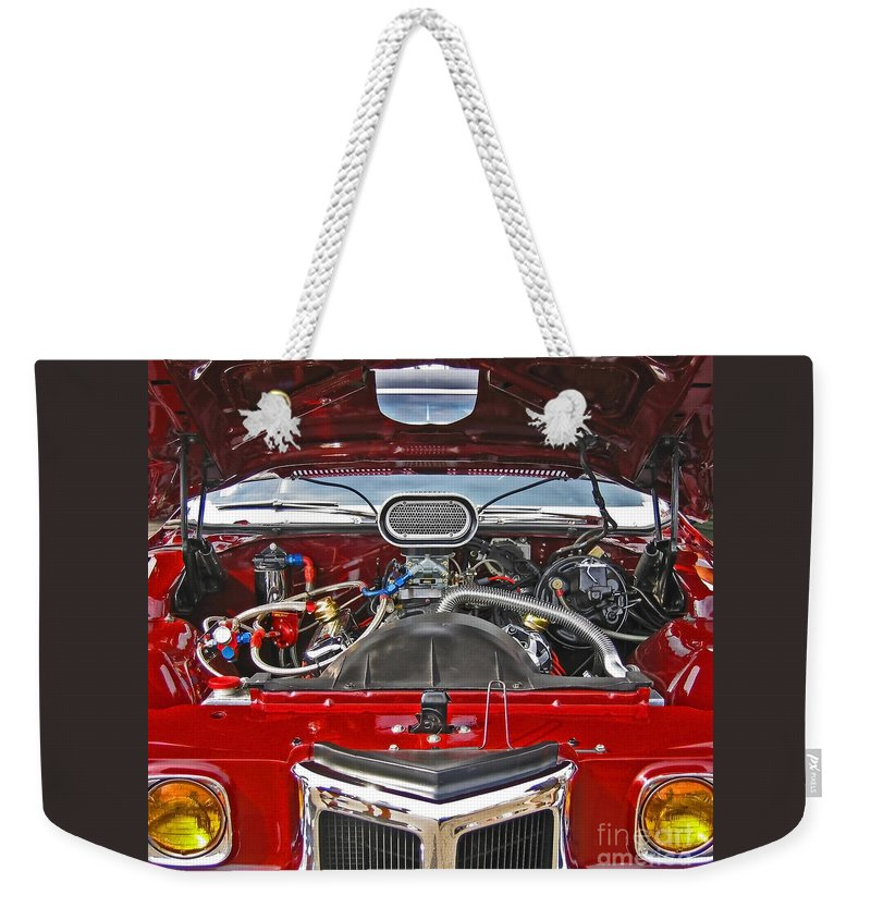 Car Weekender Tote Bag featuring the photograph Under The Hood by Ann Horn