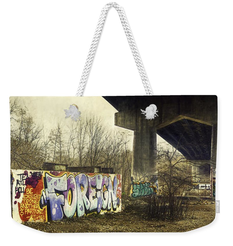 Concrete Bridge Weekender Tote Bags