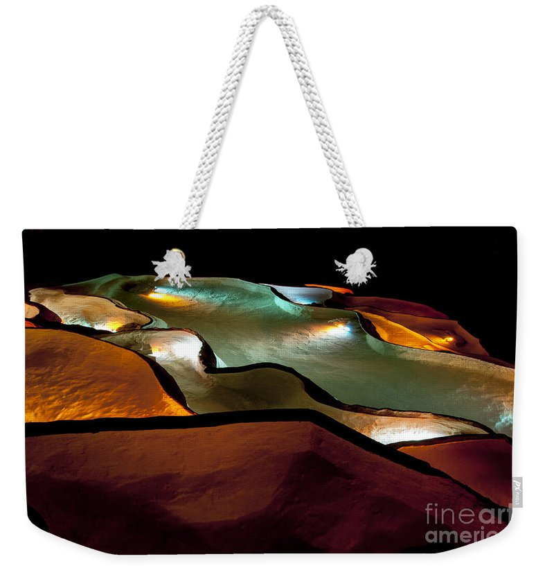 Grotte De St. Marcel Gorges De L'ardeche France Cave Caves Pool Pools Water Color Light Show Colors Abstract Waterfall Waterfalls Underground Weekender Tote Bag featuring the photograph Underground Light Show by Bob Phillips