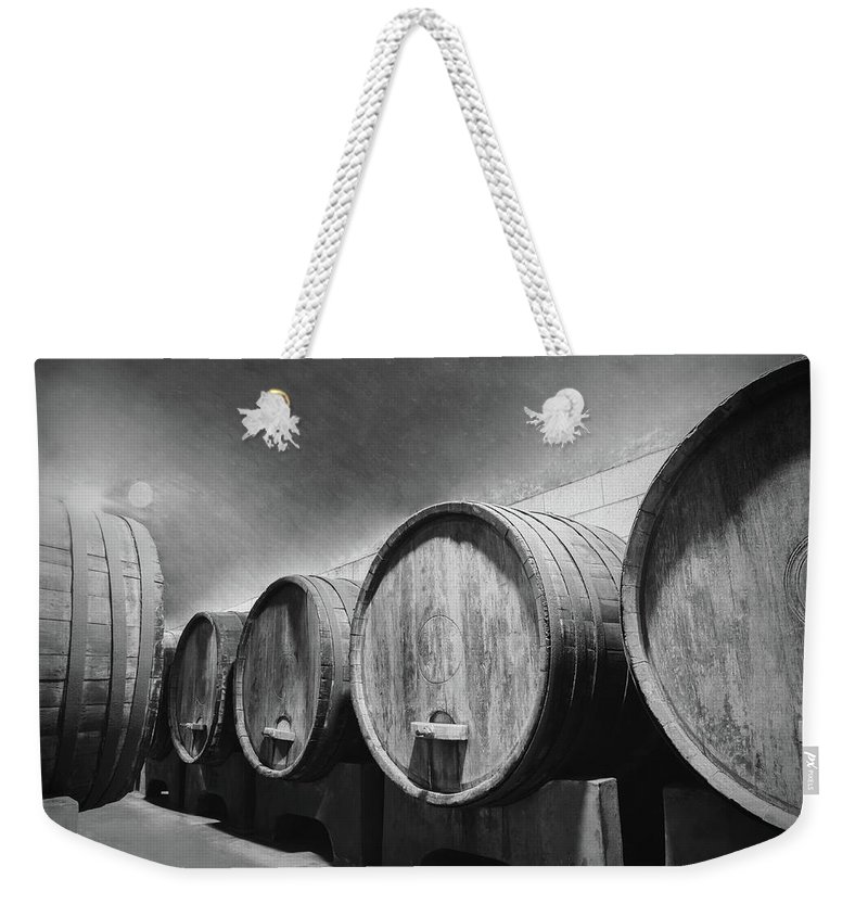 Alcohol Weekender Tote Bag featuring the photograph Underground Wine Cellar With Wooden by Feellife