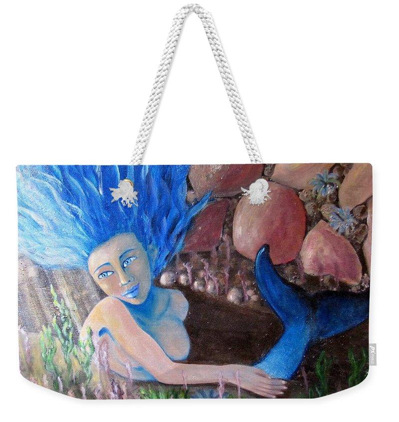 Mermaid Weekender Tote Bag featuring the painting Underwater Wonder by Laurie Morgan