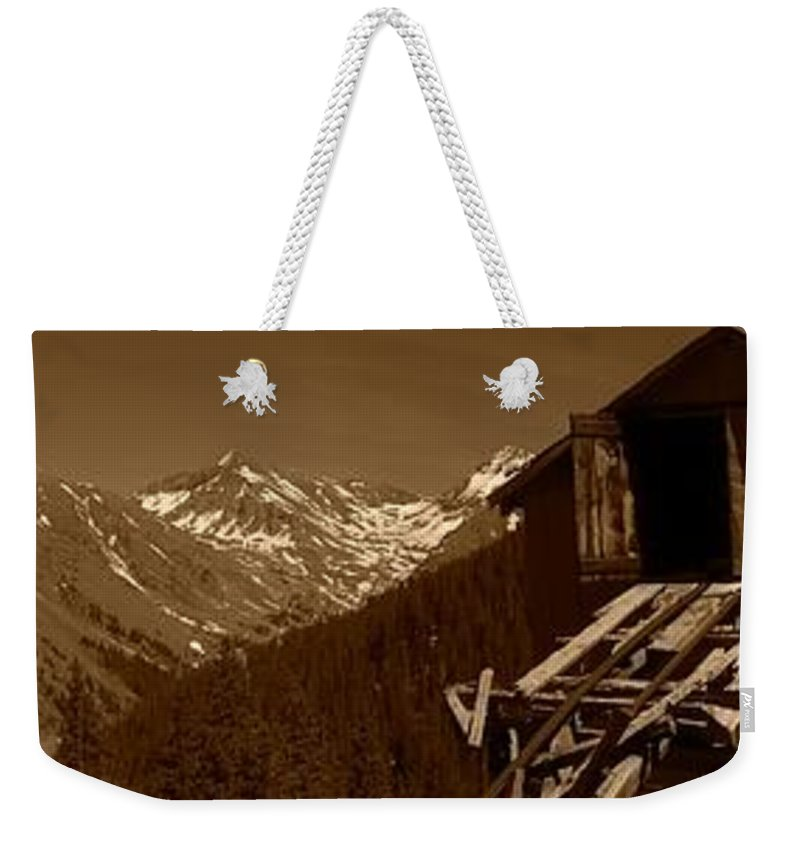 Mountains Weekender Tote Bag featuring the photograph Unending Views In Sepia by Jennifer Lavigne