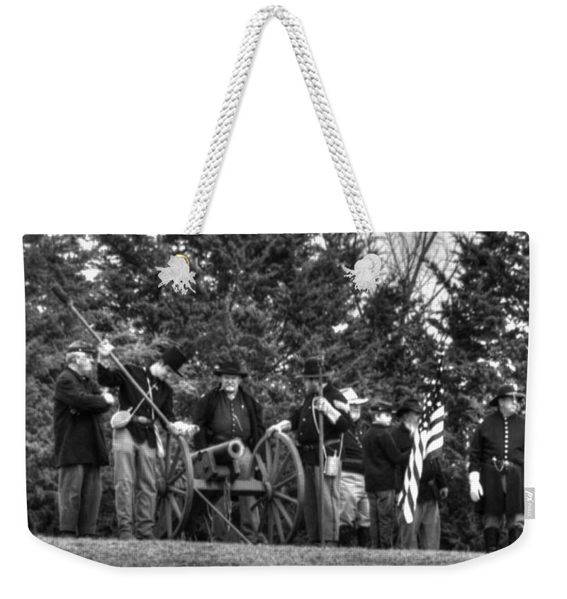 Hdr Weekender Tote Bag featuring the photograph Union Gun Crew by John Straton