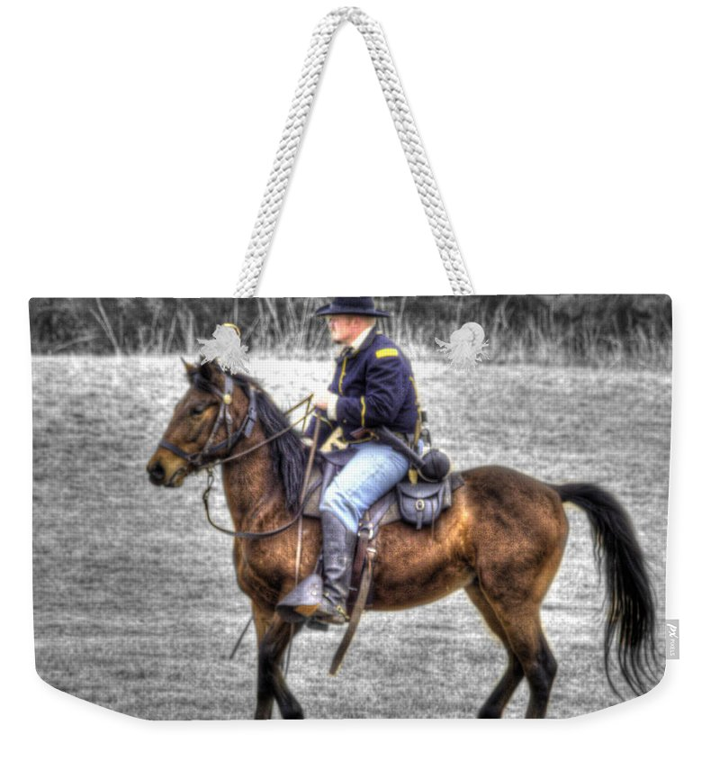 Hdr Weekender Tote Bag featuring the photograph Union Horse Officer by John Straton