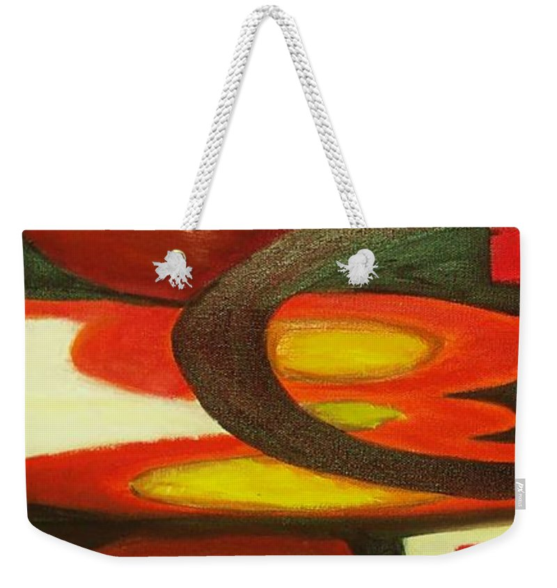 Oil Abstract Weekender Tote Bag featuring the painting Unique I by Yael VanGruber