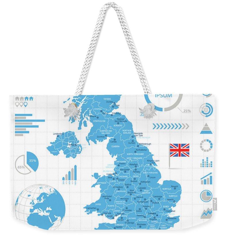 Globe Weekender Tote Bag featuring the digital art United Kingdom - Infographic Map - by Pop jop