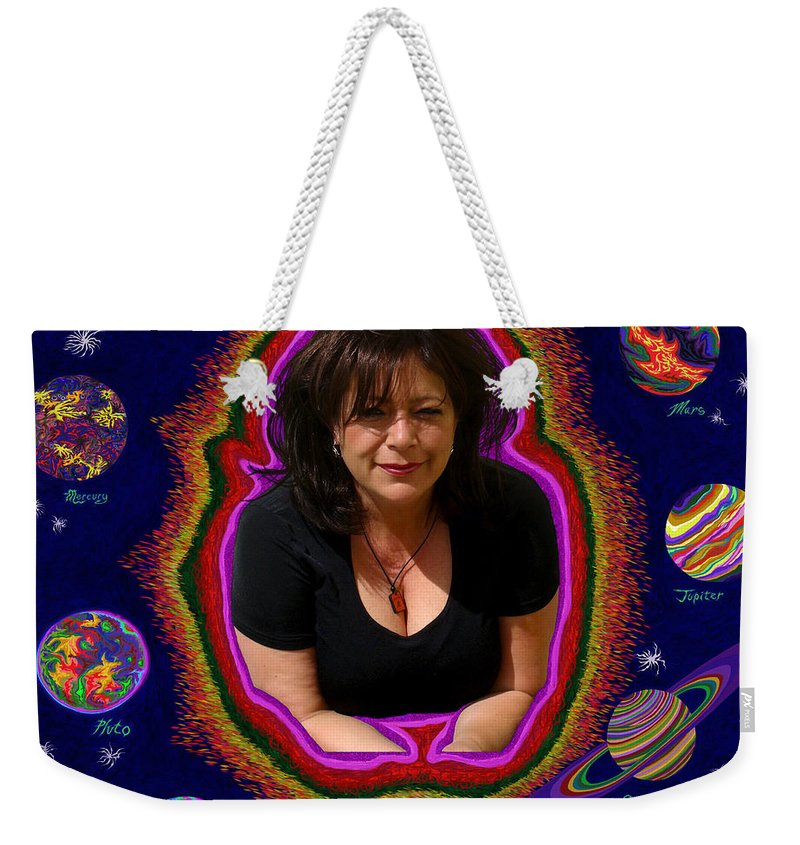 Solar System Weekender Tote Bag featuring the painting United Planets Of Mona Robin by Robert SORENSEN
