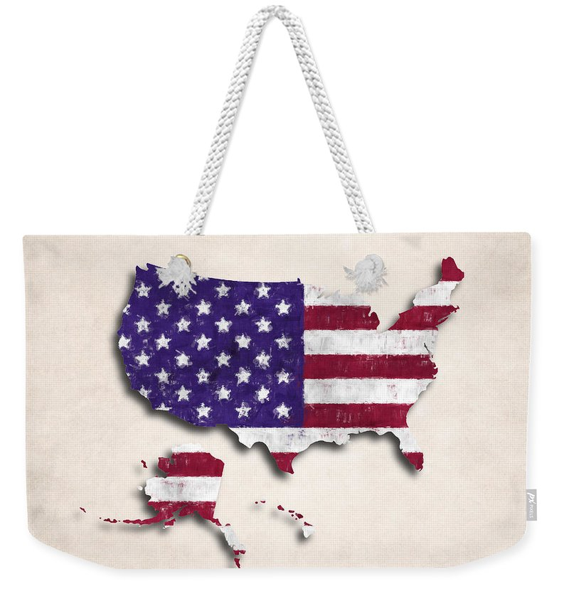 America Weekender Tote Bag featuring the digital art United States Map Art With Flag Design by World Art Prints And Designs