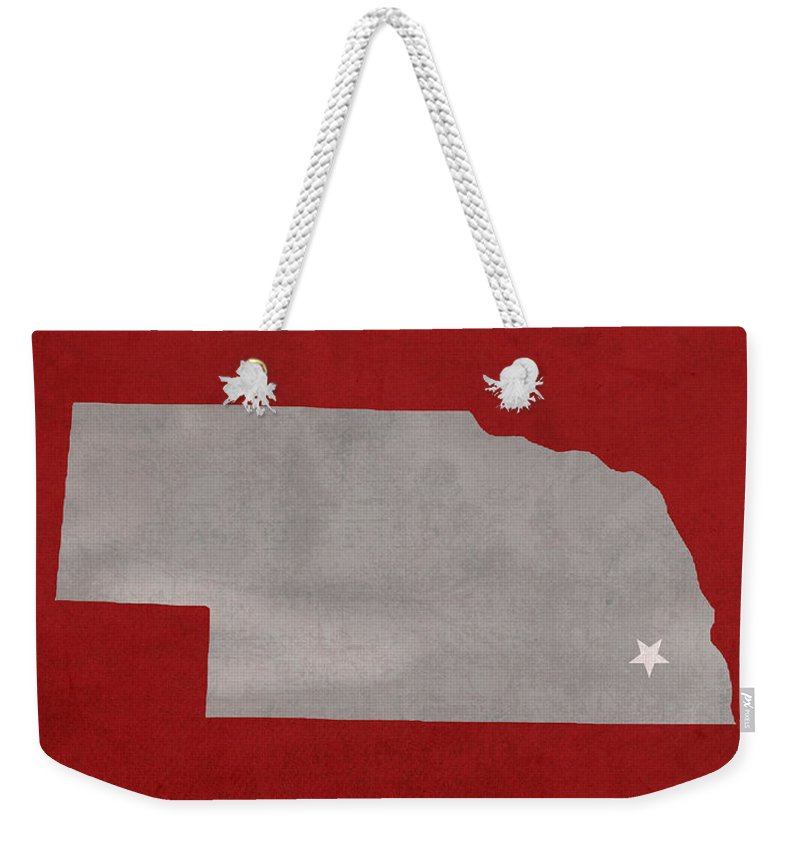 University Of Nebraska Weekender Tote Bag featuring the mixed media University Of Nebraska Lincoln Cornhuskers College Town State Map Poster Series No 071 by Design Turnpike