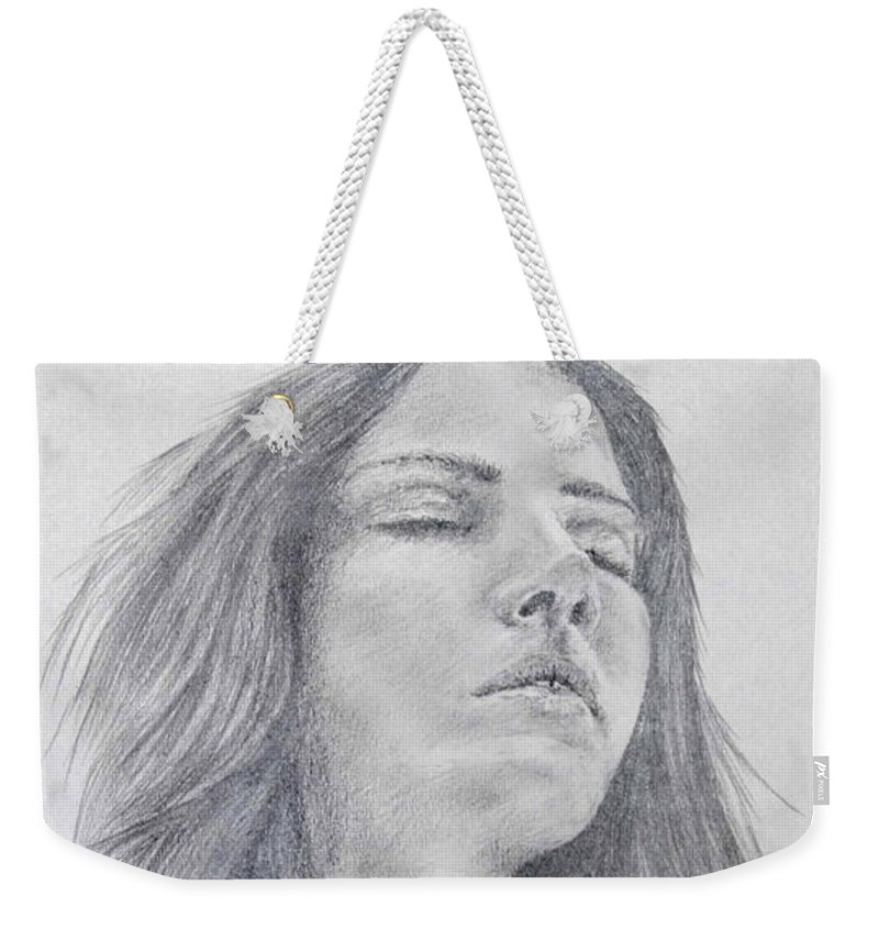 Model Weekender Tote Bag featuring the drawing Unknown Model - 1 by Alan Pickersgill