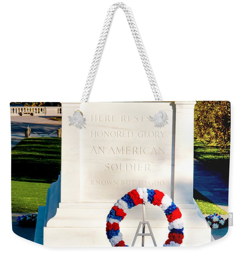 Arlington Cemetery Weekender Tote Bag featuring the photograph Unknown Tribute by Greg Fortier