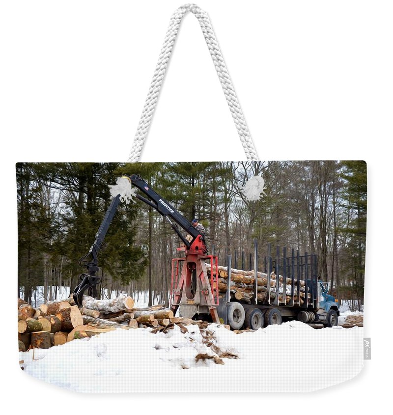 Autumn Weekender Tote Bag featuring the painting Unloading Firewood 1 by Jeelan Clark