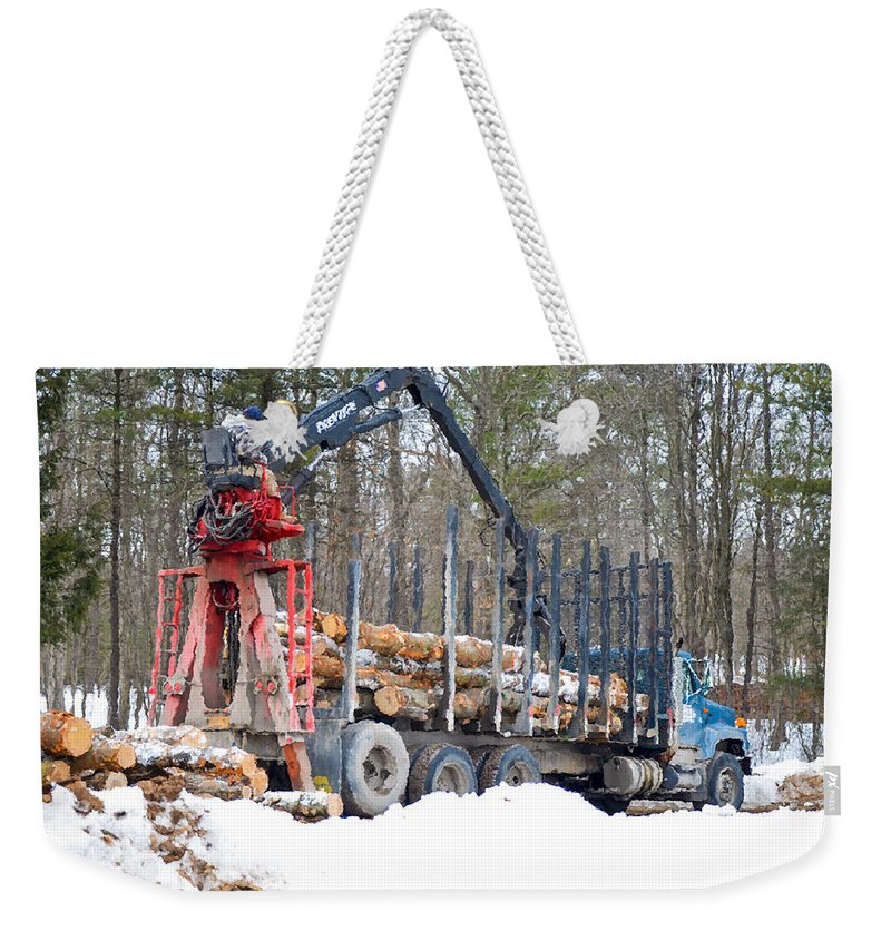 Autumn Weekender Tote Bag featuring the painting Unloading Firewood 2 by Jeelan Clark