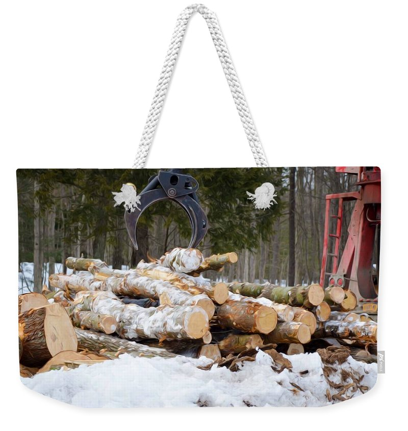 Autumn Weekender Tote Bag featuring the painting Unloading Firewood 3 by Jeelan Clark