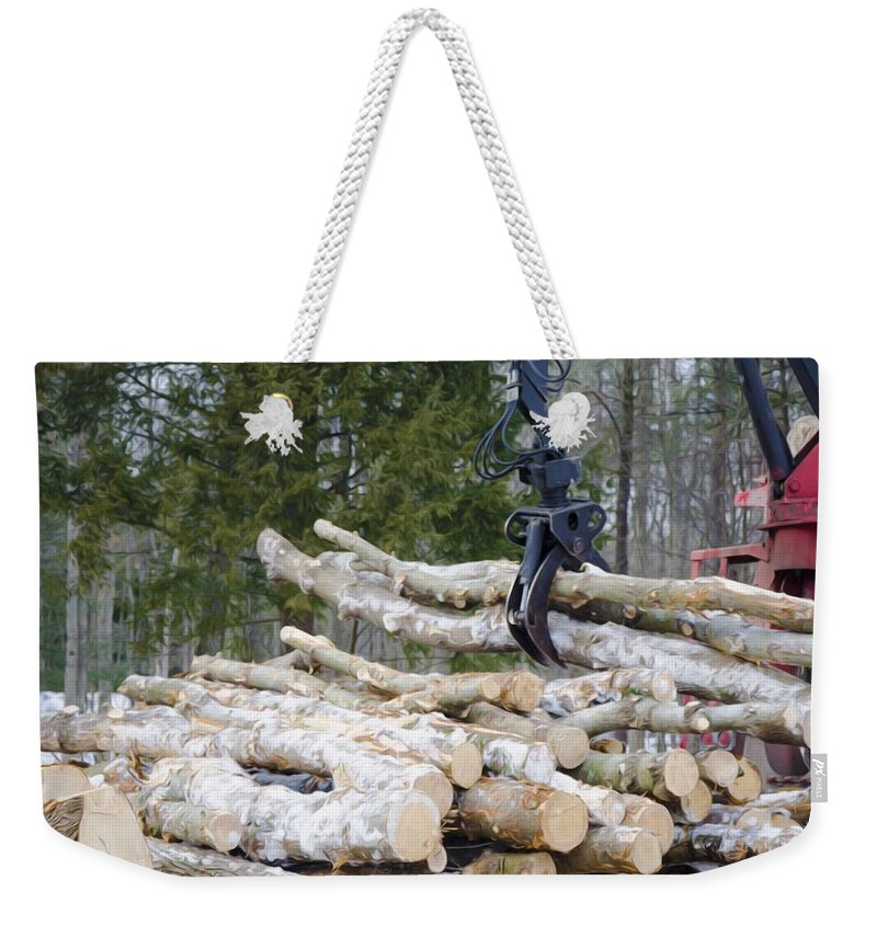 Autumn Weekender Tote Bag featuring the painting Unloading Firewood 4 by Jeelan Clark