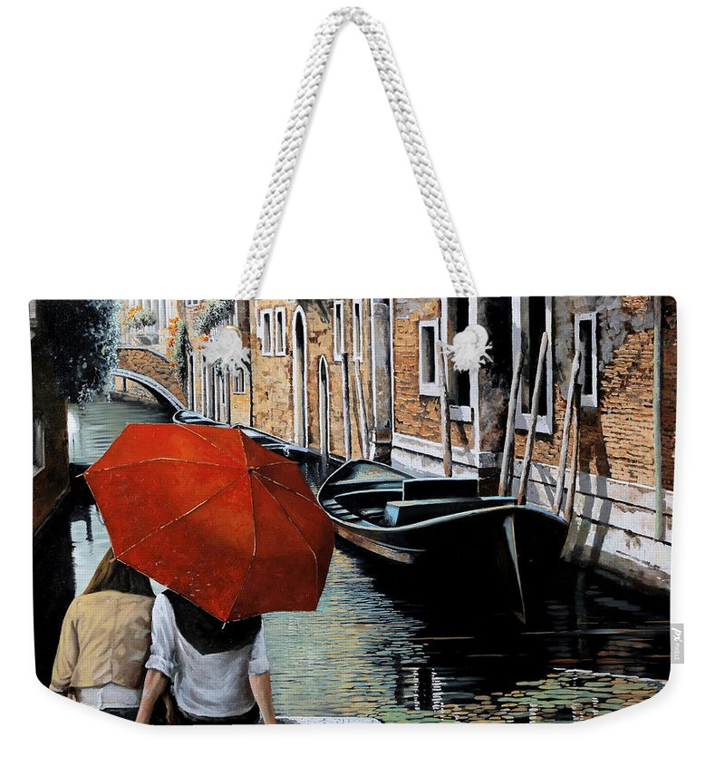 Canal Scene Weekender Tote Bag featuring the painting Uno Sguardo Al Canale by Guido Borelli