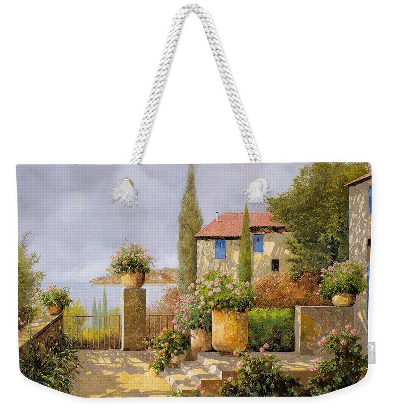 Terrace Weekender Tote Bag featuring the painting Uno Sguardo Sul Mare by Guido Borelli