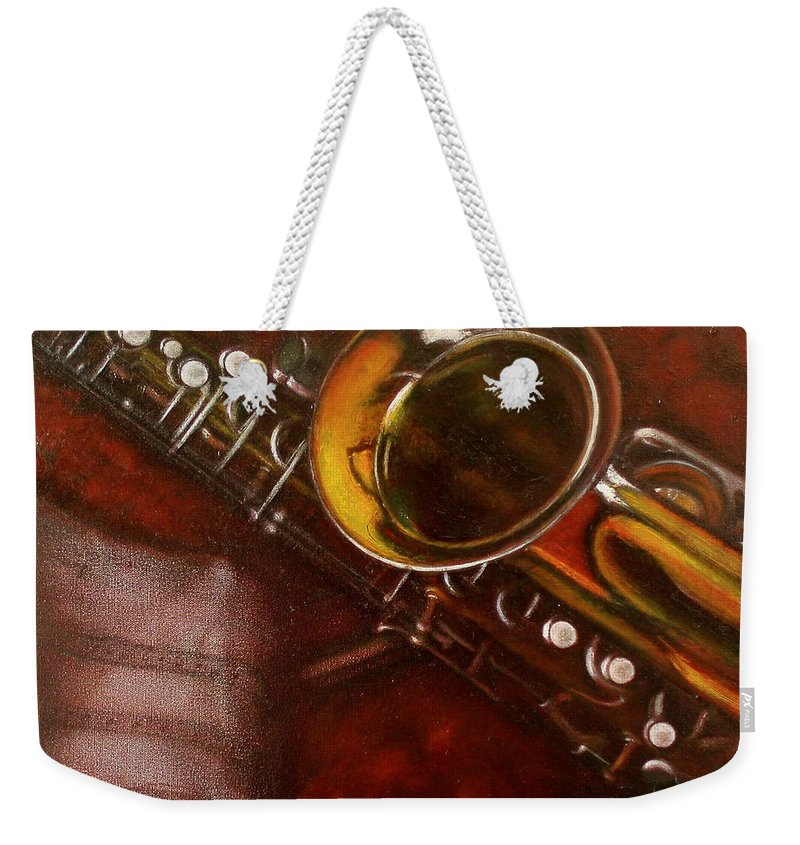 Still Life Weekender Tote Bag featuring the painting Unprotected Sax by Sean Connolly